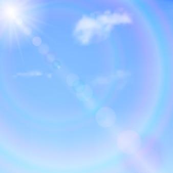 Cielo azul con nubes, sol y resplandor. fondo de vector.