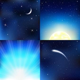 Cielo azul oscuro, con luna, estrellas y rayos, ilustración