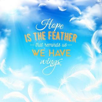 Cielo azul con plumas blancas