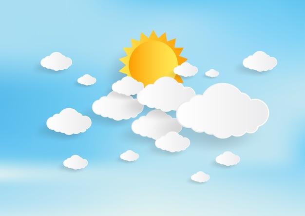 Cielo azul y sol con fondo de nubes