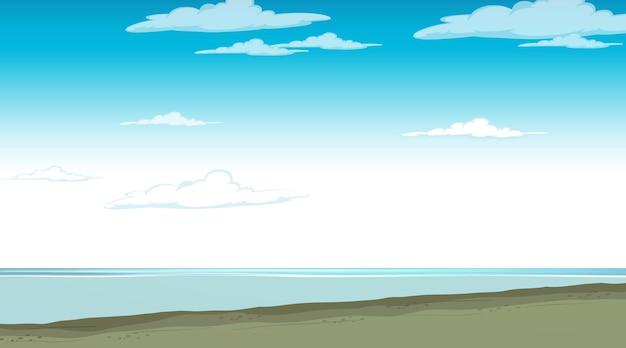 Cielo en blanco en la escena diurna con paisaje de inundaciones en blanco