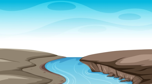 Cielo en blanco en la escena diurna con río que fluye a través del suelo