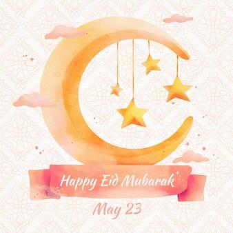 Cielo concepto acuarela eid mubarak