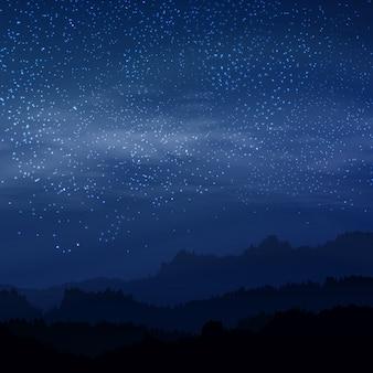 Cielo elegante oscuro con las estrellas reales en noche azul real color con la tierra