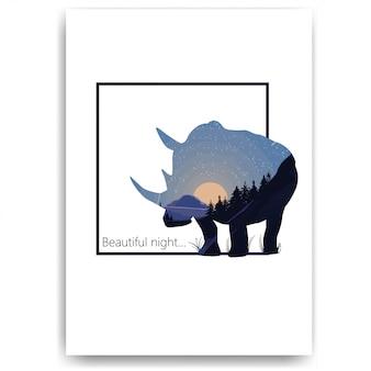 Cielo estrellado con una luna brillante en forma de una silueta de rinoceronte