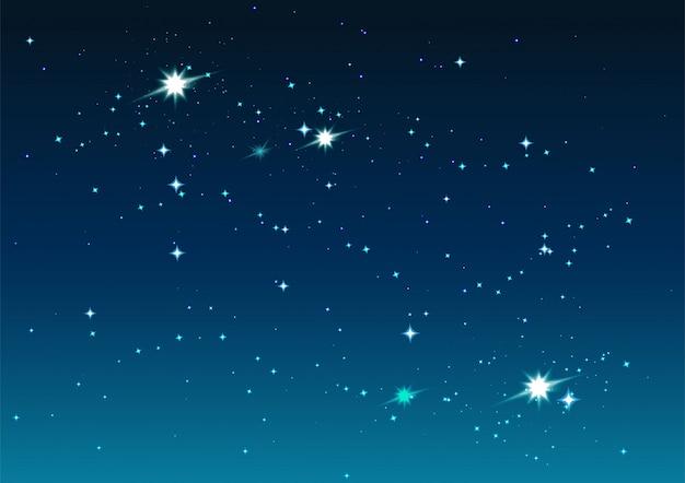 Cielo estrellado de noche. estrellas y espacio