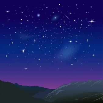 Cielo estrellado nocturno sobre las montañas. ilustración