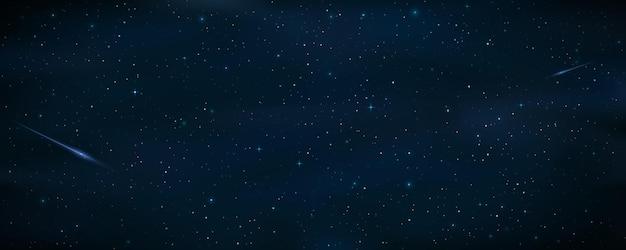 Cielo estrellado realista con una estrella fugaz azul. meteoro cayendo. estrellas brillantes en el cielo nocturno. objetos de galaxias. fondo cósmico o papel tapiz para su diseño.