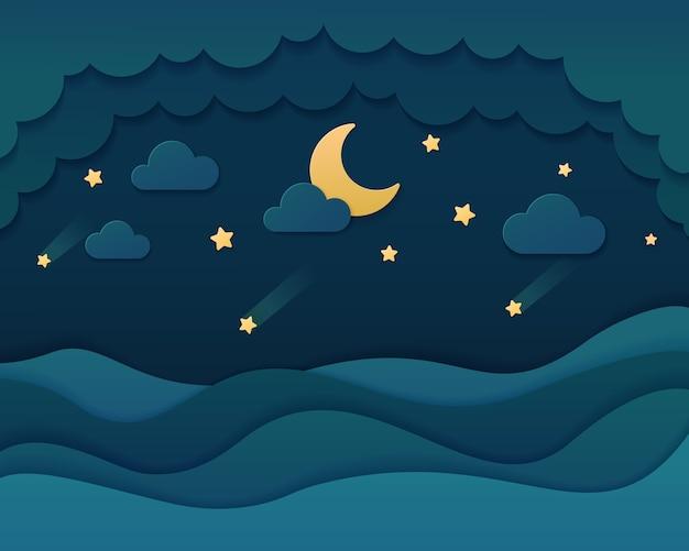 Cielo en el fondo del estilo del arte del papel de la noche.