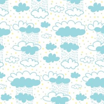 Cielo y lloviendo patrón de nubes con fondo de puntos de colores.