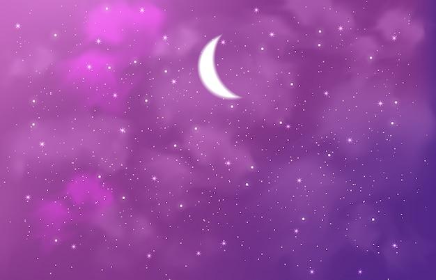 Cielo mágico lleno de estrellas, destellos y media luna.