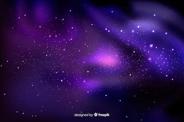 Cielo morado con fondo de estrellas