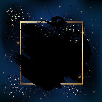 Cielo nocturno brillante oscuro con fondo de estrellas con marco vacío para el texto.