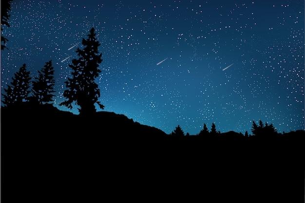 Cielo nocturno con fondo de árbol