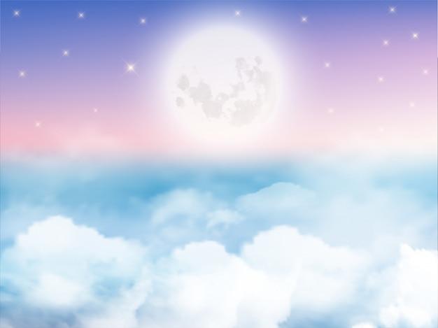 Cielo nocturno con luna creciente, nubes y estrellas.