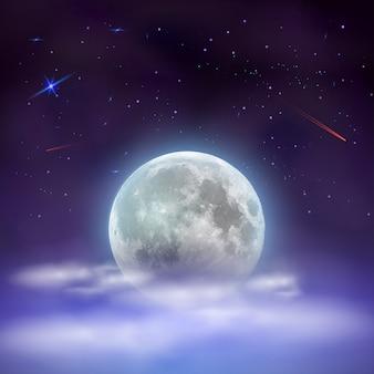 Cielo nocturno con luna llena escondida detrás de las nubes.