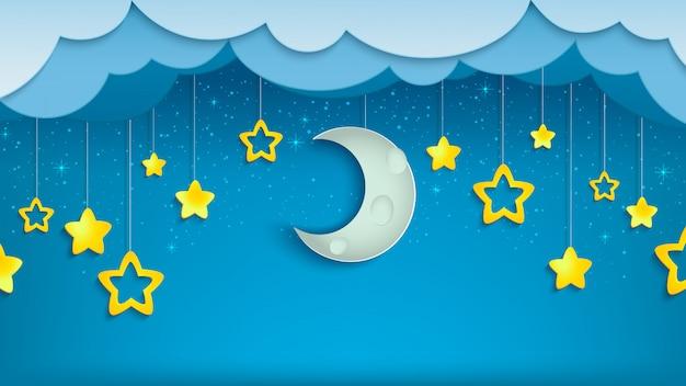 Cielo nocturno con la mitad de la luna y las estrellas.