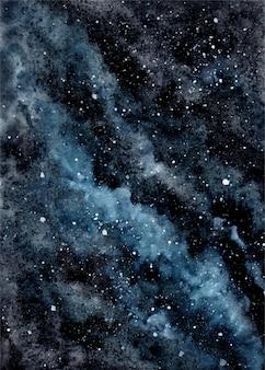 Cielo nocturno nublado con fondo de acuarela de estrellas