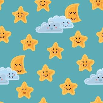 Cielo nocturno de patrones sin fisuras. estrellas lindas. luna y nube con caras sonrientes