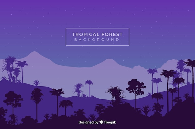 Cielo nocturno con siluetas de bosque tropical