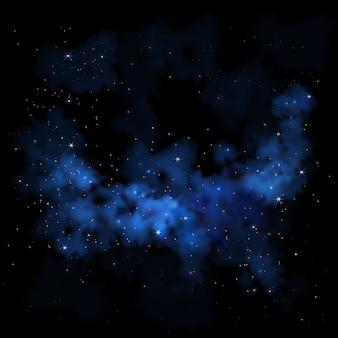 Cielo nocturno vibrante vía láctea espacio galaxia nebulosa nubes estrellas