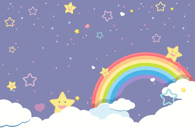 Cielo púrpura en blanco con arco iris y estrellas lindas sonrientes