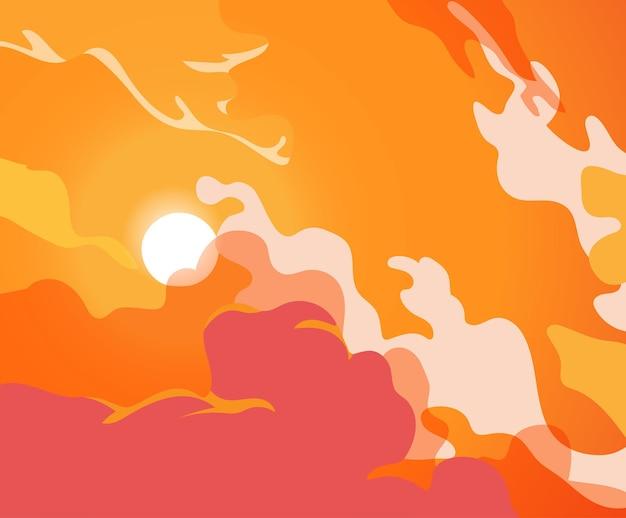 Cielo rojo y naranja con nubes en movimiento y el sol naciente
