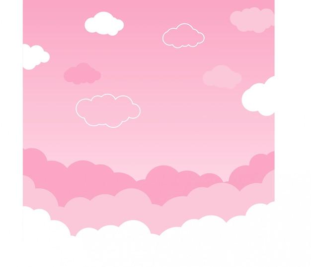 Cielo rosado con vector de fondo de nubes