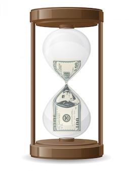 Cien dólares goteando en la ilustración de vector de reloj de arena