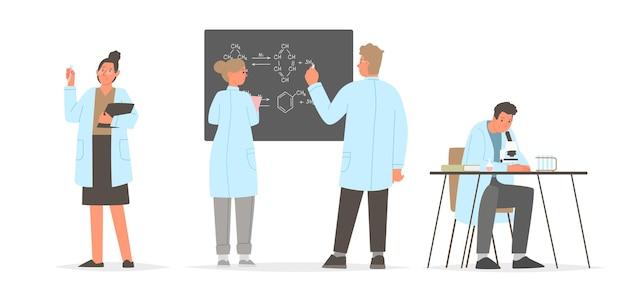 La ciencia. un conjunto de personajes científicos involucrados en el estudio. químicos y biólogos.