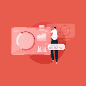 Ciencia de datos programación maestra interfaz futurista tecnología de visualización de datos grandes