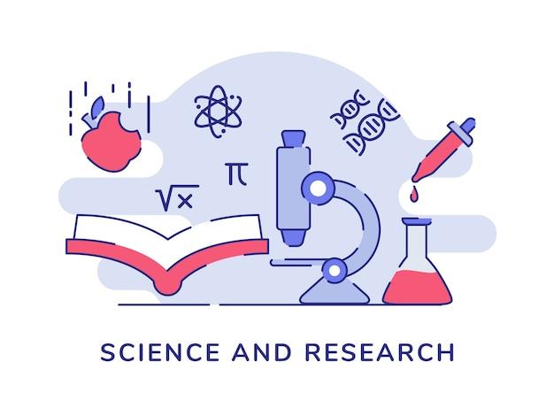 Ciencia e investigación microscopio libro átomo física química biología fondo blanco aislado