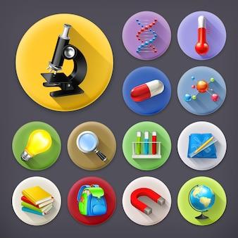Ciencia y educación, conjunto de iconos de larga sombra