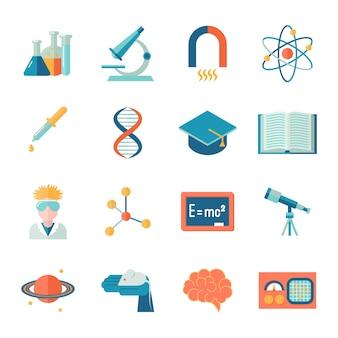 Ciencia y la investigación icono conjunto plano con microscopio tubo átomo aislado ilustración vectorial
