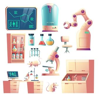 Ciencia laboratorio genético de equipos, cristalería y herramientas de dibujos animados.