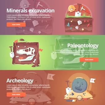 Ciencia de la vida. excavación de minerales. paleontología. arqueología histórica. fósiles antiguos origen de la especie. edad de los dinosaurios geología. conjunto de banners de educación y ciencia. concepto.