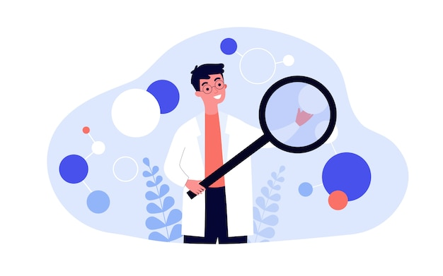 Científico en algoritmo de comprobación de bata de laboratorio