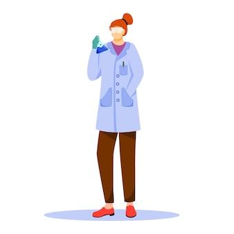 Científico en bata de laboratorio con ilustración plana de gafas de protección. estudiar medicina, química. realización de experimento. mujer con matraz de laboratorio personaje de dibujos animados aislado sobre fondo blanco.