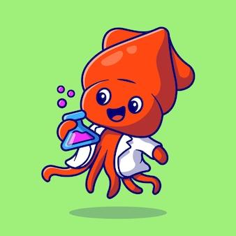 Científico de calamar lindo que sostiene el ejemplo del icono del vector de la historieta del laboratorio del tubo. concepto de icono de ciencia animal aislado vector premium. estilo de dibujos animados plana