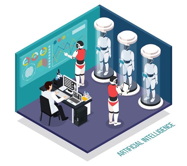Científico cerca de la computadora durante las pruebas de robots droides en composición isométrica de laboratorio