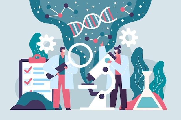 Científico con concepto de moléculas de adn