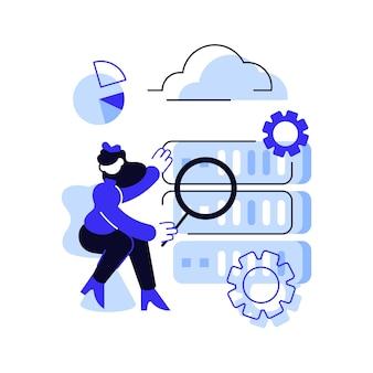 Científico de datos, gerente de análisis de datos, desarrollador de bases de datos y administrador en funciones. trabajo de big data, desarrolladores de bases de datos, carreras en concepto de big data. ilustración vectorial azul aislado