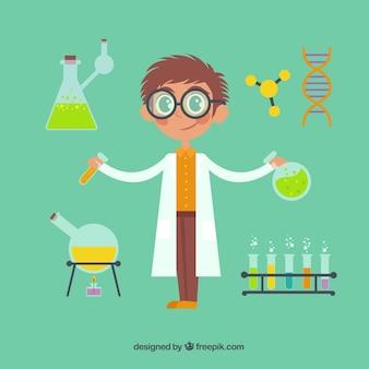 Científico de dibujo animado con elementos químicos
