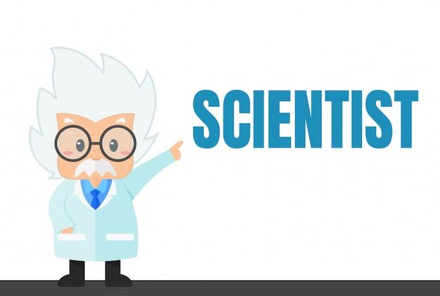 Científico de dibujos animados en el laboratorio y experimento eso parece simple