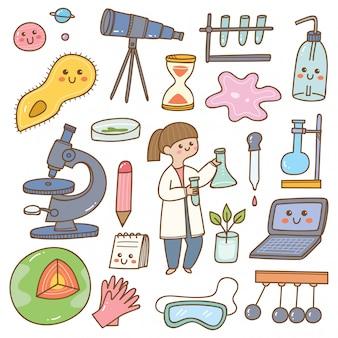 Científico con equipo de laboratorio de dibujos animados