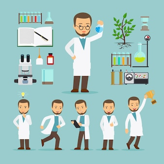 Científico con equipo de laboratorio.