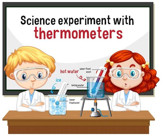 Científico explicando el experimento científico con termómetros