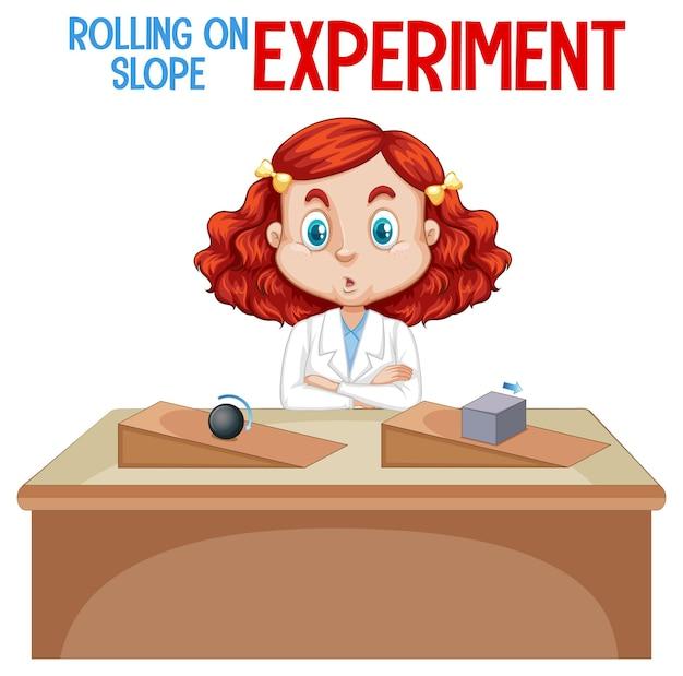 Científico explicando el experimento de rodar en pendiente