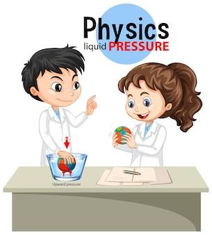 Científico explicando la presión líquida física