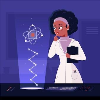 Científico femenino con átomo